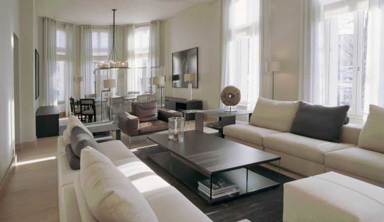 Designer lounge Luxury Serviced Apartments by La Reserve Paris, modern contemporary interior