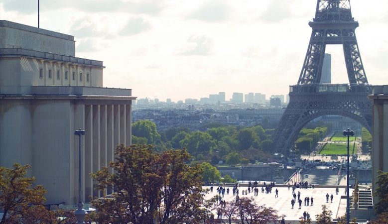 The Eiffel Tower Paris - unmistakable landmark of the Parisien skyline built by Gustave Eiffel - here showing place de Trocadéro