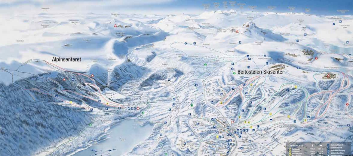 Ski and boarding map of the pistes of Jotunheimen and Beitostølen