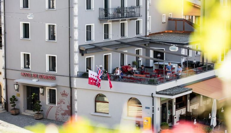 Hotel de Londres Brig Switzerland - outdoor terrace cafe, views of Brig town centre, member of White Line Hotels