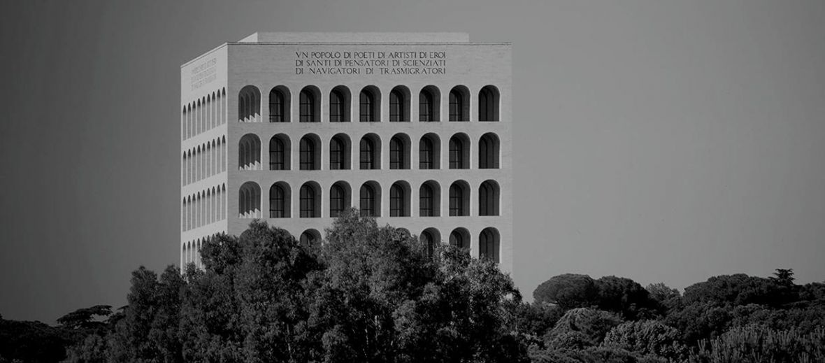Fendi Geadquarters Rome, Italy  - Black white photo of the iconic facade