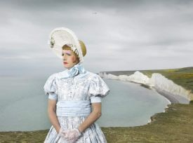 Grayson Perry, photographed above the White Clffs of Dover on St George's Day, 2017