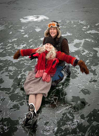 Having fun on the ice - Frozen lakes at the Galery69 design hotel in Poland- Winter holidays, ice skating
