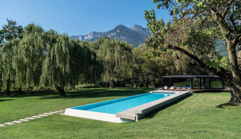 Outdoor pool at the seventies Seehotel Ambach in Caldaro/Kaltern South Tyrol Italy