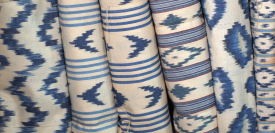 IKAT Blue & white textile from Mallorca, that bears a characteristic pattern obtained by the process of resist dying, and the island of Mallorca is the only place where you can still visit family-run workshops that have been operating for over 160 years.