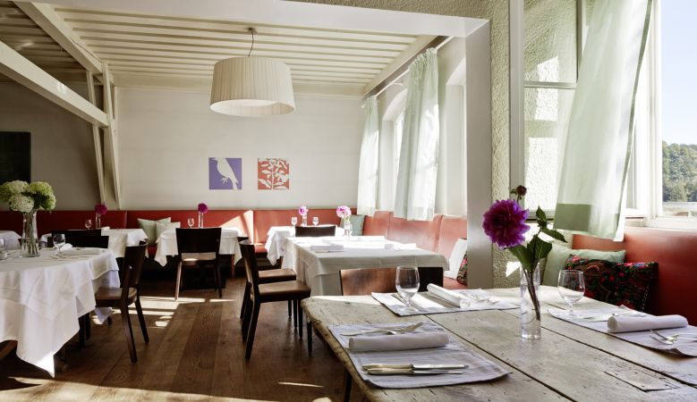 Hecht Restaurant at the Hotel Seehof in Goldegg Austria, interiors with art