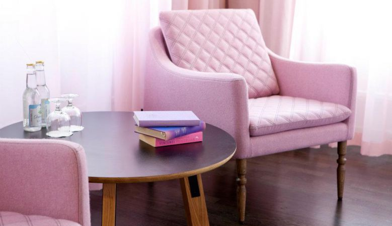 Pink chairs in the bedroom Lady Flora at the boutique hotel Flora Gothenburg, Sweden, made by Design by Us