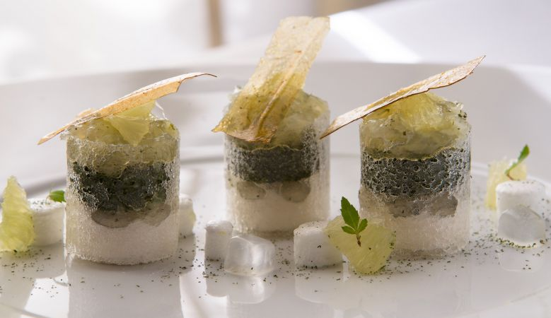 Michelin food by Chef Jérôme Banctel of Michelin La Gabriel Restaurant Paris at La Reserve Hotel
