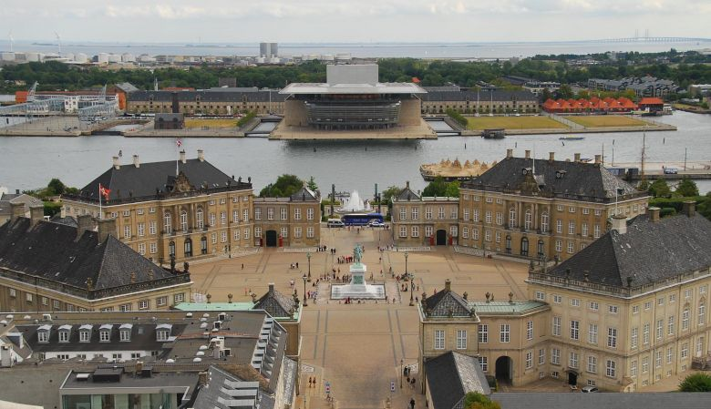 Amalienborg Palace from above, Copenhagen, Denmark, must-see