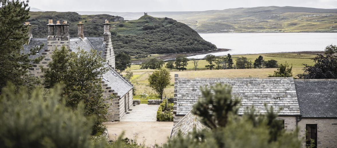 Lundies House Tongue Sutherland - view across the house towards the sea