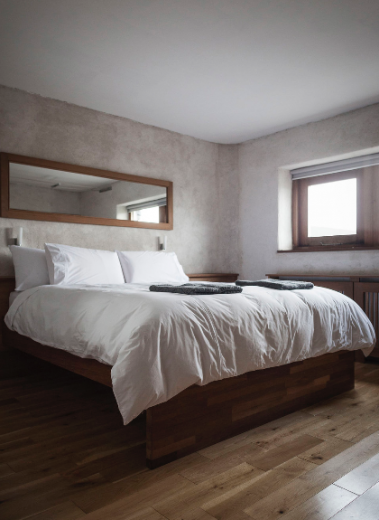 Minimalist DEsgin Bedroom accommodation at the Inis Meáin Hotelm Aran Islands Ireland
