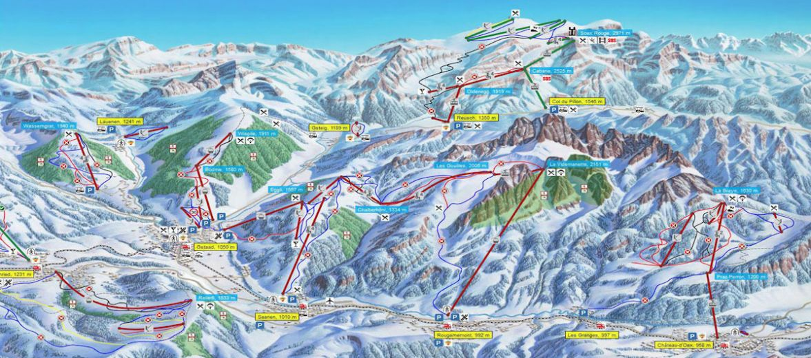 Ski Lift map of the pistes and ski routes in the resort of Saanen/Gstaad Swtizerland