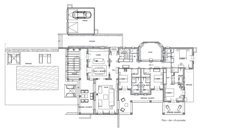 Luxurious floor plan of a 4 bed private villa in Ramatuelle