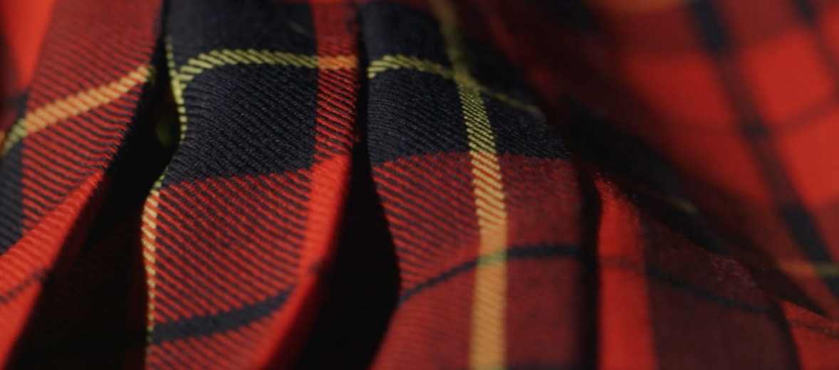 kilt, Hand crafted in Scotland, made from 100% British wool & black shearling.