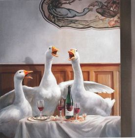 Three happy geese, a tradtional mark of St Martins Day in Austria