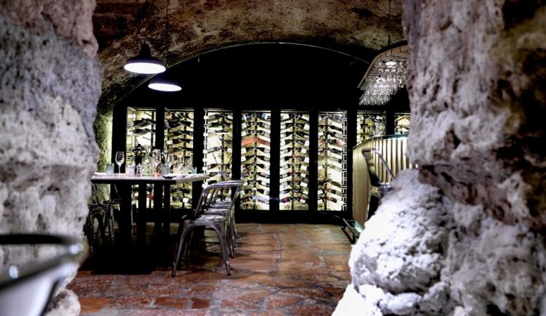 Architects design underground vaulted stores into the wine cellars at the Blaue Gans Hotel Salzburg