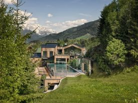Modern design hotel & spa, Forsthofgut in Leogang Austria - spa relaxation zones in wood