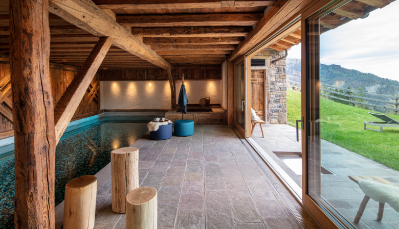 Swimming Pool and Spa Zone | Borgo Eibn Mountain Lodge overlooks the Carnic Alps in Sauris, Friuli Venezia Giulia, Italy. A boutique hotel, spa & restaurant with chalet style accommodation.