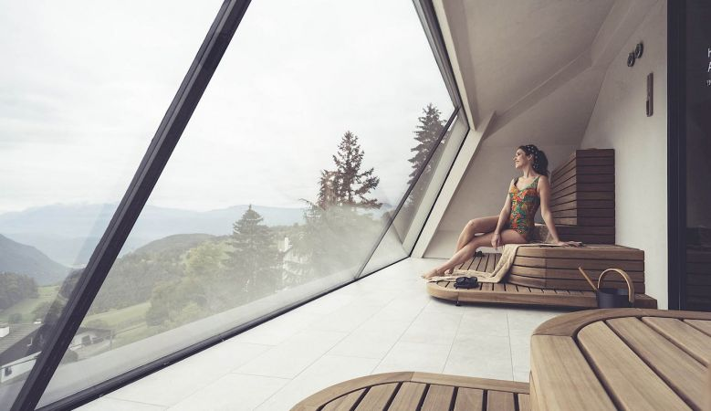 Rooftop Spa & Wellness - Gloriette Boutique Hotel Soprabolzano - designed by noa architects, overlooking the Dolomites in South Tyrol, Italy
