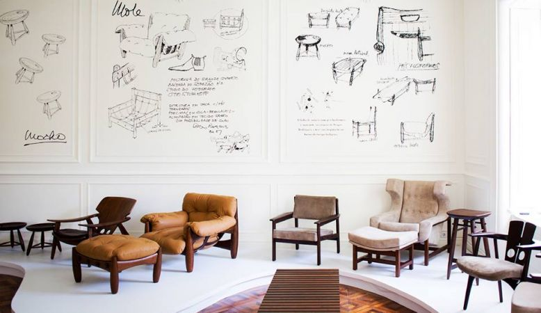 Casa Pau-Brasil, interior design shop Lisbon, Portugal, photo of a collection of chairs arranged as if in a gallery, concept store