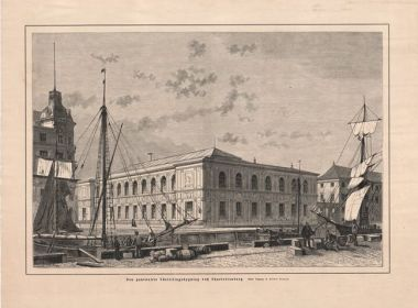 Old etching of the Charlottenborg Palace, Copenhagen, Kunsthal Charlottenborg, Denmark, art contemporary gallery