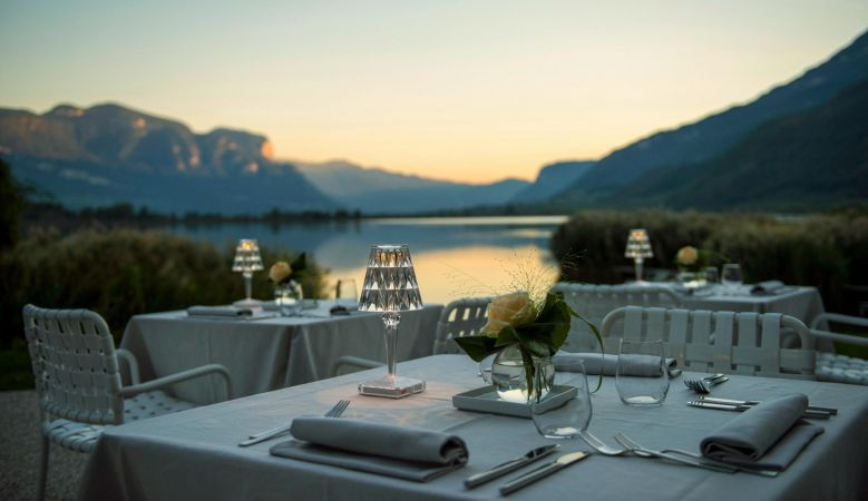 Sunset Dining in the Alps - at the seventies Seehotel Ambach in Caldaro/Kaltern South Tyrol Italy