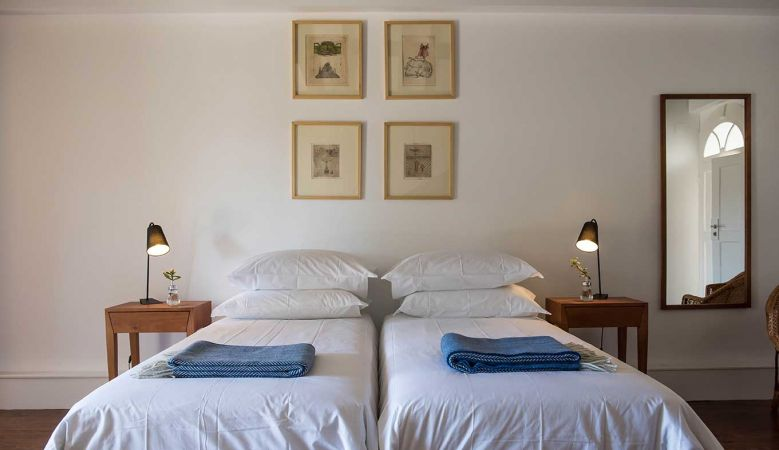 Luxury bedroom at the A Bela Aurora Guest House and designer Bed & Breakfast in Porto Portugal