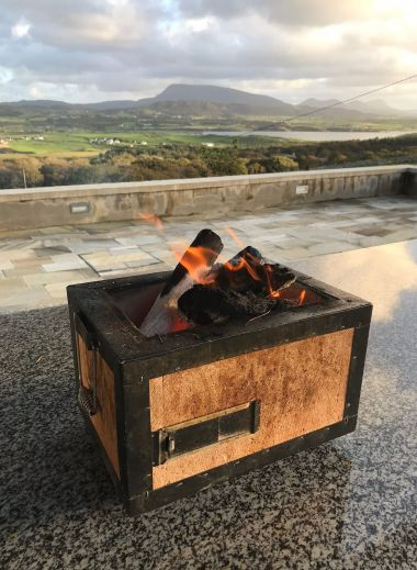 Outdoor firepit overlooking the Horn Head Peninsula Co. Donegal - view from the design hotel Breac.House