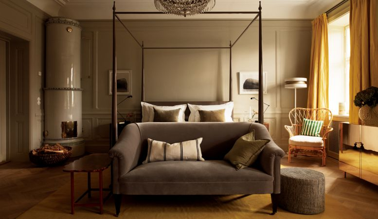 Modern luxury Suite in Scandinavian design by Ilse Crawford in Stockholm's Ett Hem Hotel, Sweden