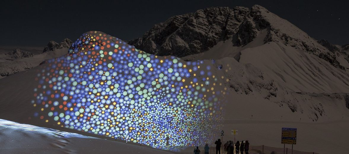 Lech's mountainside lights from the Fantastic Gondola festival