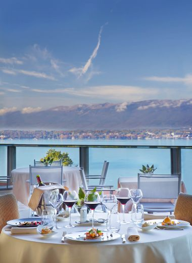 Le Floris Restaurant Geneva overlooking Lac Leman, Switzerland, al fresco dining