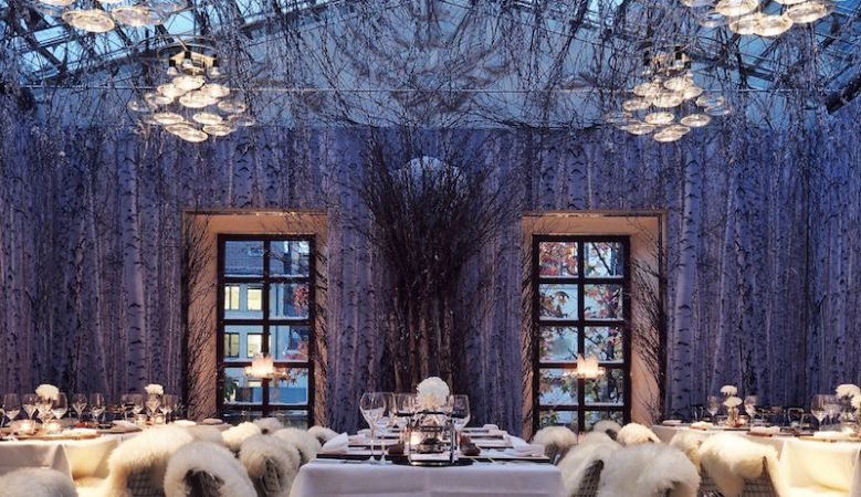The fabulously chilled, Winter Forest Champagne Lounge at the luxury Widder Hotel in Zurich, winter wonderland, Ruinart