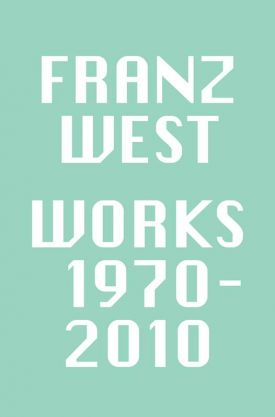 Green and white sign for the Franz exhibition at the Gagosian Geneva