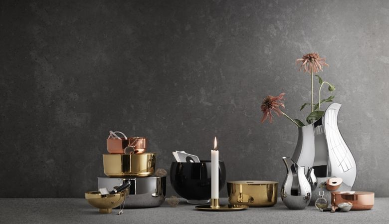 Steel, copper & brass jugs, vases and candle holders - a design collaboration by Ilse Crawford and Gerog Jensen