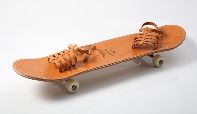Greek Inspired Skate board with leather strapes - Greece is for Lovers | Design Studio | The Aficionados