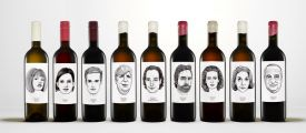 Gut Oggau's wine bottles with labels drawn by artist Jung Von Matt, a famous Austrian brand of vineyards famous for biodynamic approaches