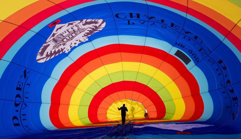 The interior of a hot air balloon, coloured stripes, from A colourful photo of Switzerland's famous hot air balloon festival