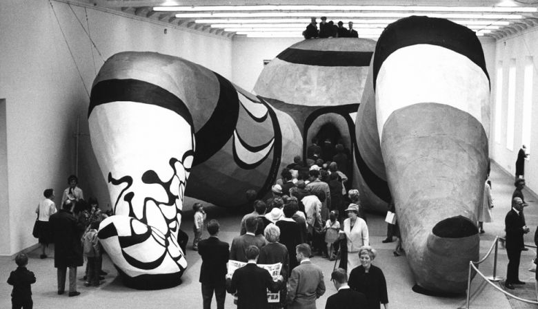 Artist Saint Phalle's sculptural Hon exhibition in Stockholm's Moderna Museet, 1966.