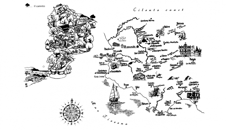 Il Cannito Boutique hotel Cilento map of Campania, highlights, travel , illustration map
