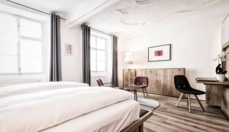 Modern design rooms at the Art Hotel Blaue Gans in the old town of Salzburg, Austria