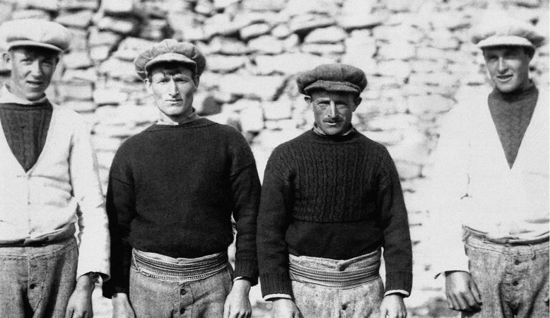 Inis Meáin Knitting Company, black and white photo of Ireland's Aran Island's fishermen