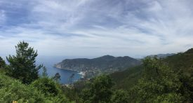 Arial views of the Ligurian Coast and Cinque Terre on the Italian Riviera.