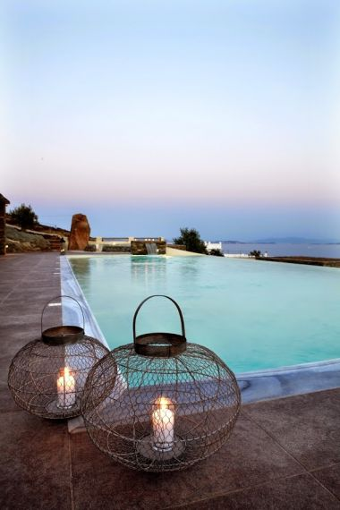 Sunset pool makes an ideal Wedding venue on the Greek island of Tinos