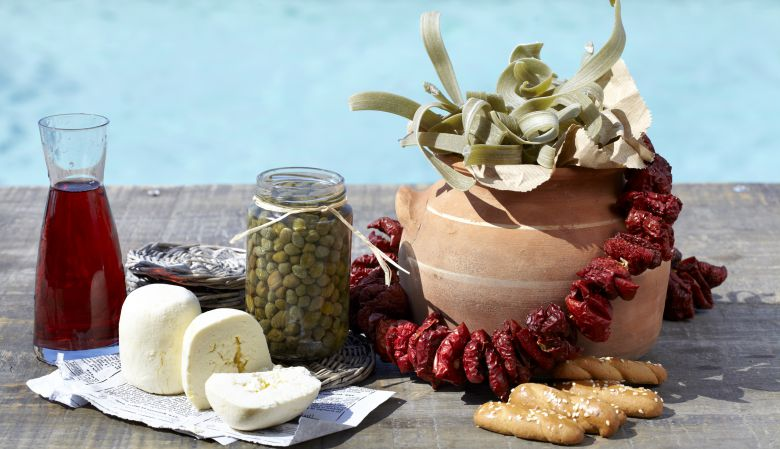 Poolside healthy foods, Tinos, at the Diles & Rinies Villas
