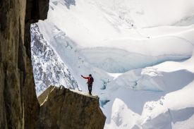 person standing on top of mountain beside snow mountain, Aiguille du Midi, Chamonix, France, Photo by Inspire Toud