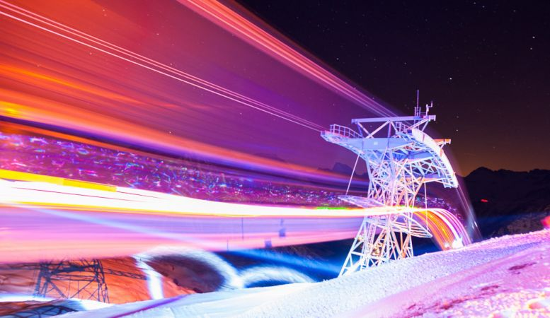 Lech's alpine ski lift with lights from the Fantastic Gondola festival