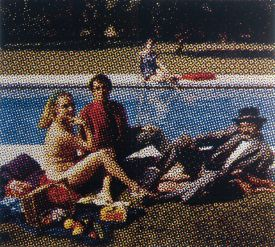 Painting of two men and a woman by a pool, design, art, Valais, Switzerland, Brig