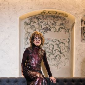 Tilla Theus Swiss Architect sitting at the Luxury Widder Hotel Zurich whcih she designed