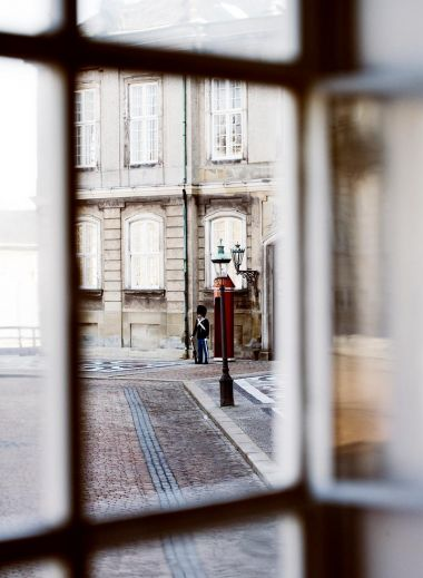 Amalienborg Palace courtyard from a window, Copenhagen, Denmark, must-see