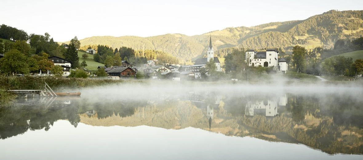 Fabulous Moor Lake in Goldegg, Austria, and the Seehof Hotel
